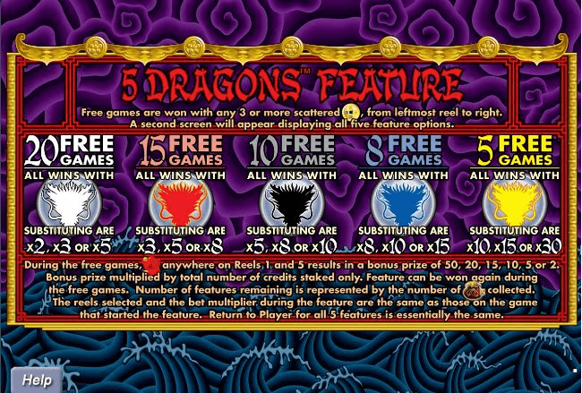 5 Dragons free spins