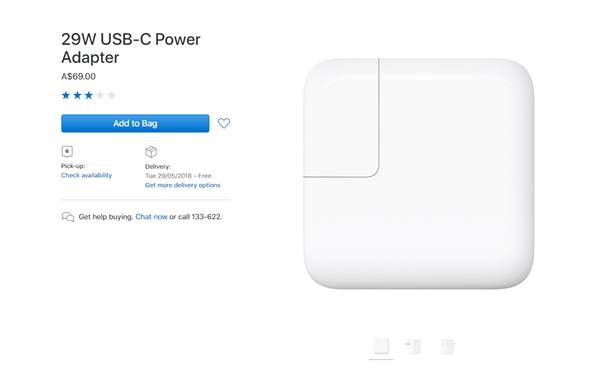 Apple 29 W USB C Power adaptor