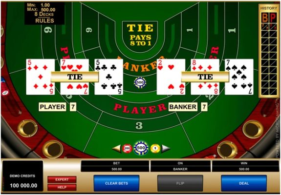 Baccarat games at various casinos