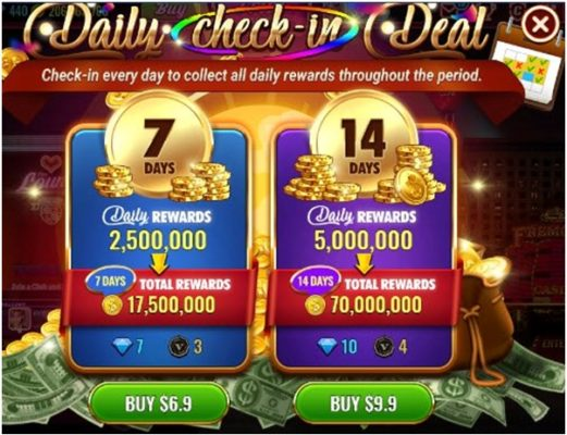 daily bonus free coins at Vegas live slots app