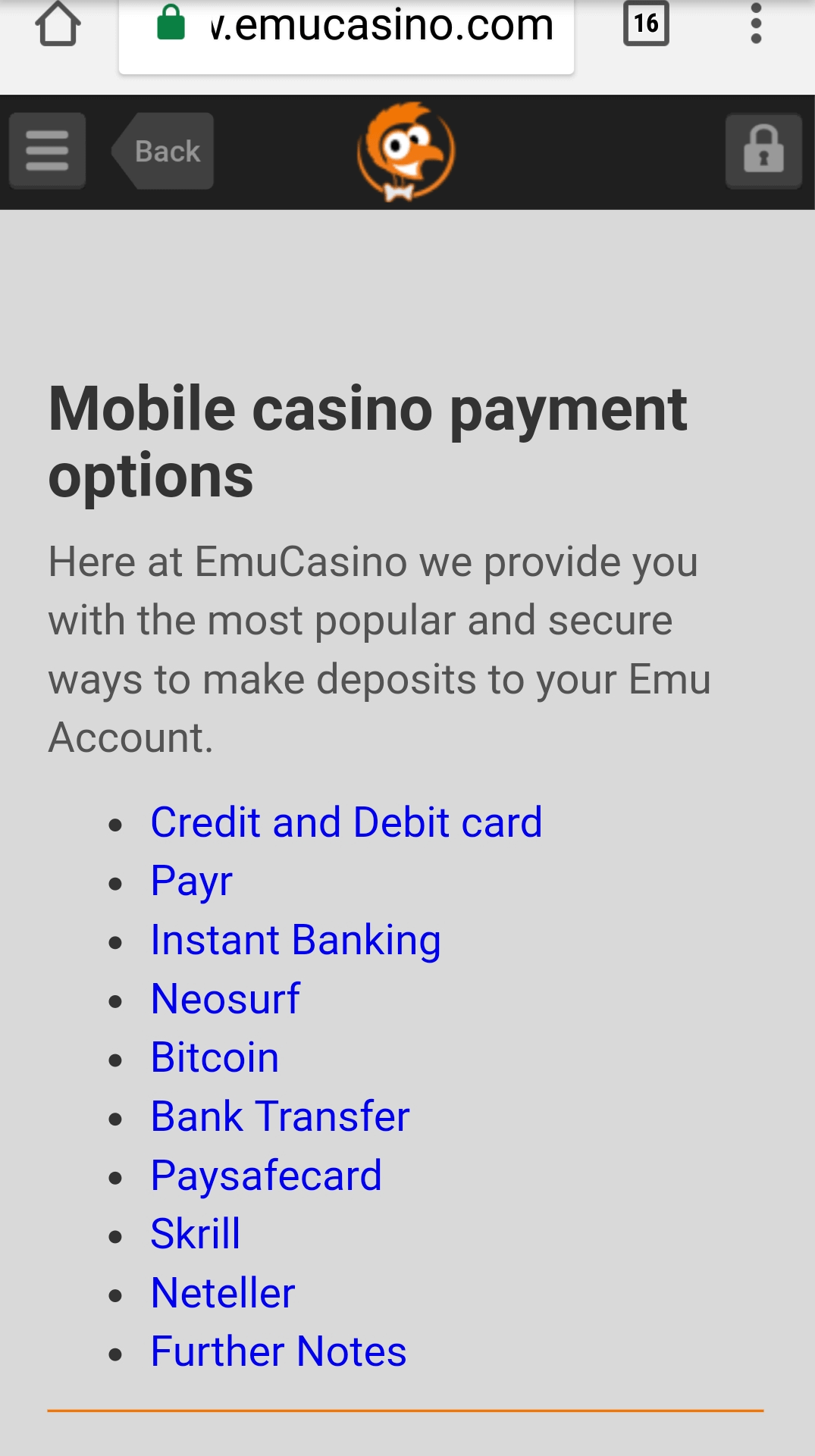 Emu Casino- Mobile Deposits