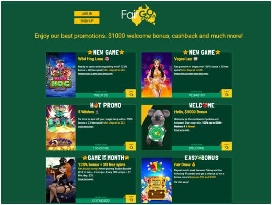 Fair go Casino Bonus offers