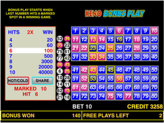 Keno bonus play game app