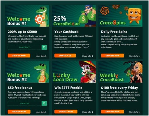 Play Croco Casino bonus offers