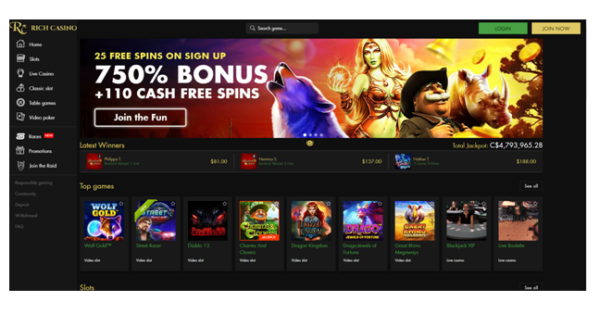 How can you find free spins at Rich casino