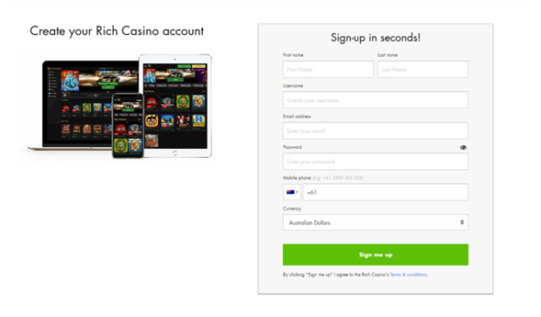 How to create an account at Rich Casino?