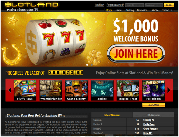 Slotland casino iPhone bonus