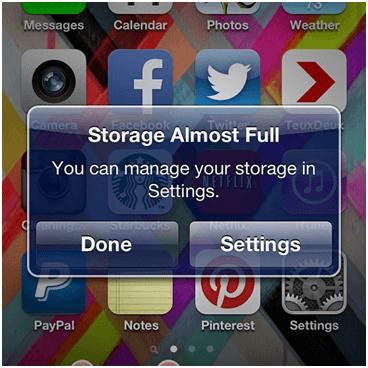 Storage Full Screen