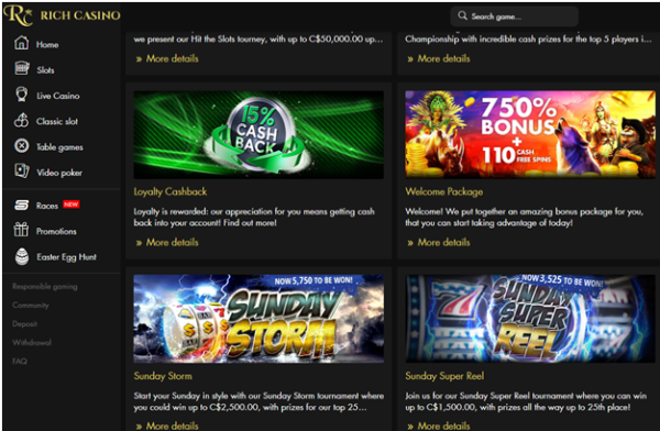 How can you get cashback at Rich Casino