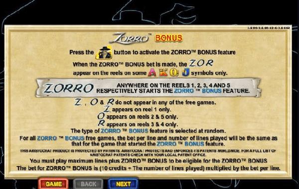 Zorro pokies
