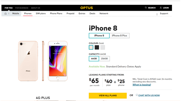 Optus iPhone 8 plans on offer