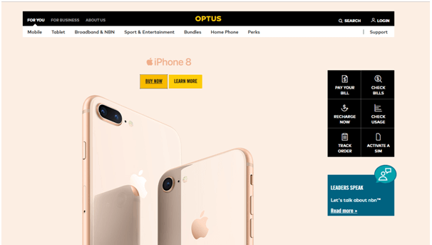 iPhone 8 plans on Optus mobile